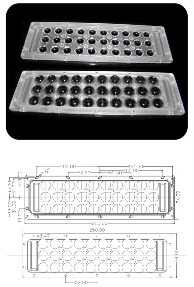 30 Watts Injection Molding Plastic Array Lens LED Cover For High Bay Light